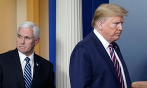 A grim-faced Donald Trump arrives with Vice-President Mike Pence to address an uncharacteristically curt coronavirus taskforce media briefing on Friday.
