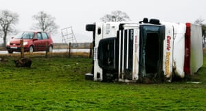 An overturned lorry on the A66 near Brough, as Storm Desmond hits.