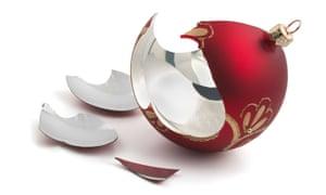 Broken red glass Christmas ball