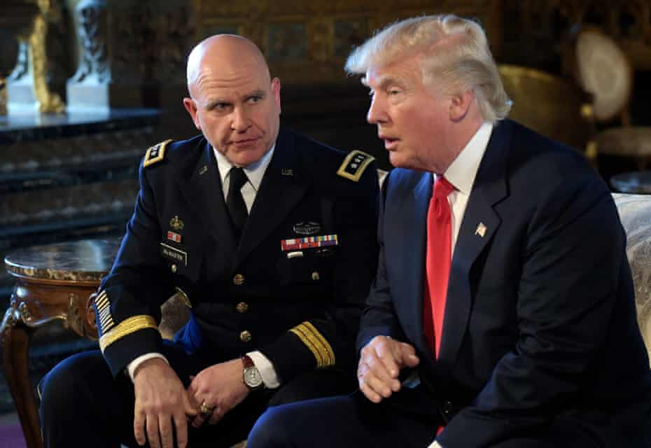 Donald Trump speaks as HR McMaster listens at Mar-a-Lago in Florida, in February 2017.