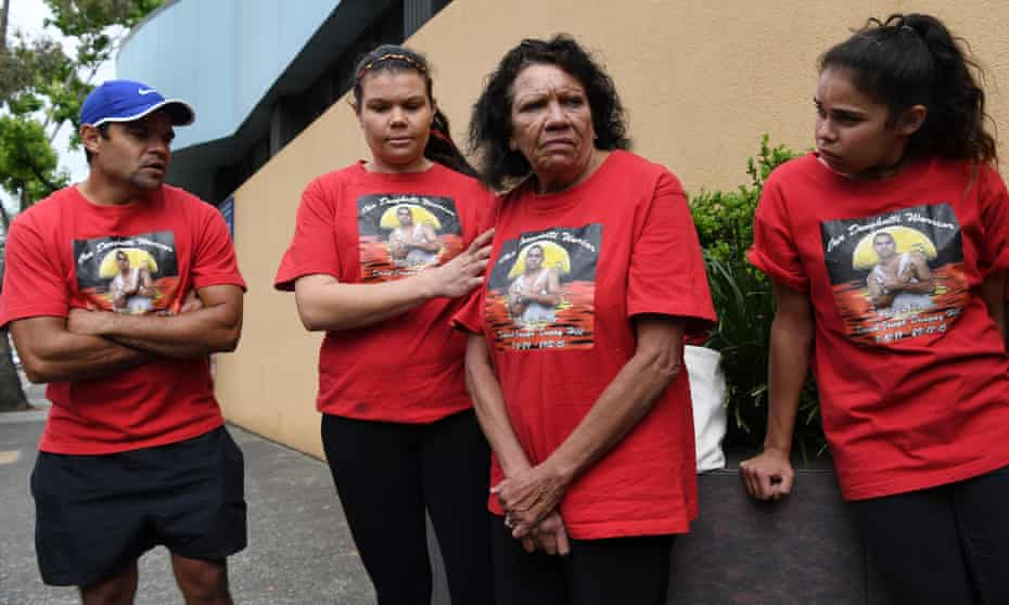 Leetona Dungay, the mother of David Dungay Jnr, who died in custody in 2015, stands with family outside the NSW coroner's court in Sydney in November in a call for 'justice'.