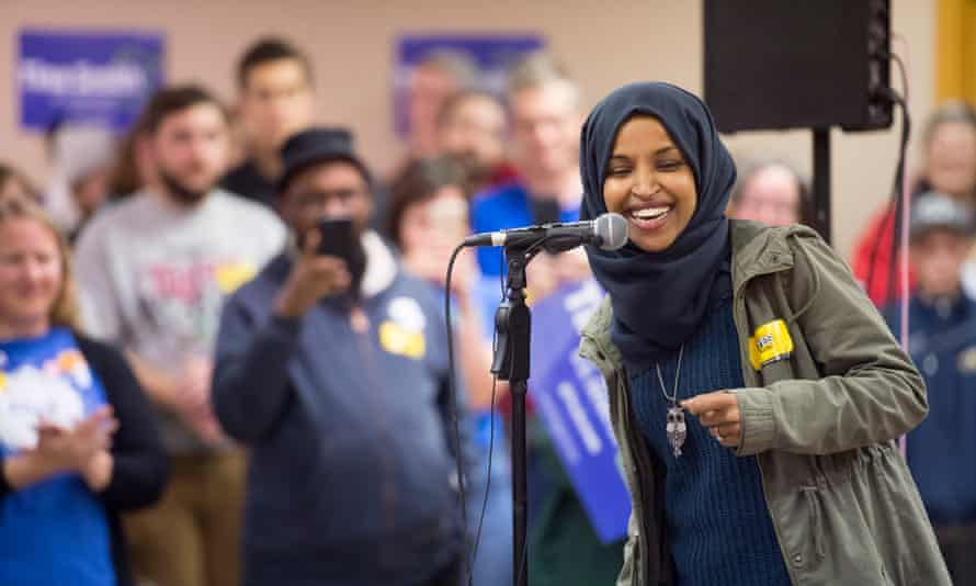 Ilhan Omar on the campaign trail in Minneapolis, Minnesota.
