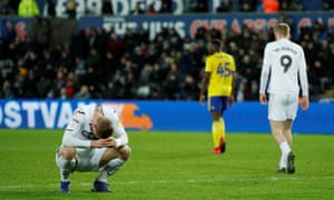 Swansea City's Jay Fulton looks downcast after a missed chance against Birmingham