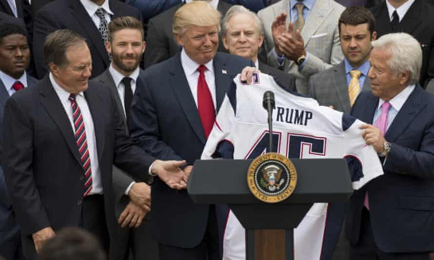 Bill Belichick (left) alongside Donald Trump following the Patriots' Super Bowl win in 2017