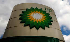 Signage for a BP petrol station in London