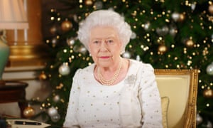 The Queen records her Christmas Day broadcast in the 1844 Room at Buckingham Palace