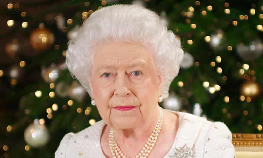 The Queen recording her Christmas message at Buckingham Palace.