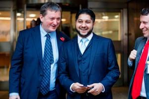 Former Uber drivers James Farrar (L) and Yaseen Aslam (R) following today's judgement.