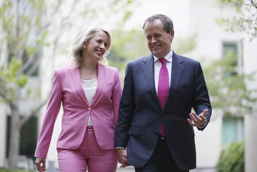 Bill Shorten with his wife, Chloe, after winning the Labor leadership. Lately she has been travelling with him on the campaign trail more often