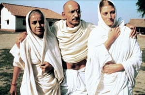 Through British eyes … Geraldine James, right, as Mirabehn, with Rohini Hattangadi and Ben Kingsley.