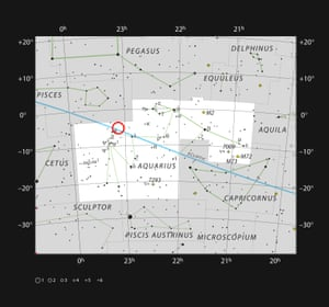 This chart shows the stars visible to the naked eye in the constellation of Aquarius. The position of the ultracool dwarf star Trappist-1 is marked. Although it is relatively close to the Sun it is very faint and not visible to the naked eye or through small telescopes.