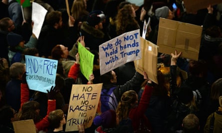 A protest in Newcastle against the US travel ban on Monday january 30 evening