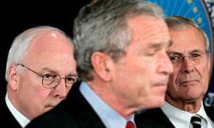 A 2005 picture of then US president George W Bush, flanked by vice-president Dick Cheney, left, and defense secretary Donald Rumsfeld, right.