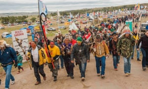 Protesters demonstrate against the Dakota Access pipeline near the Standing Rock Sioux reservation in Cannon Ball, North Dakota.