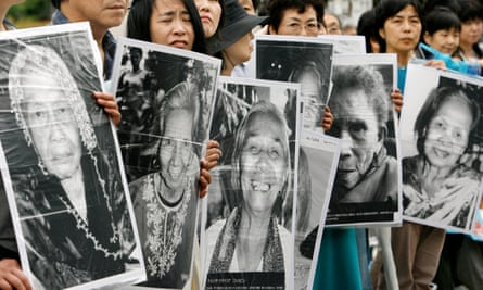 Portraits of former comfort women who were sex slaves for Japanese soldiers during the second world war.