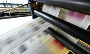 Printing of newspapers in a printing shop