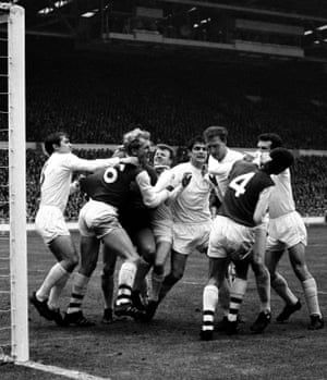Tempers flare in the Leeds goalmouth during a 1-0 win over Arsenal in the 1968 League Cup Final.