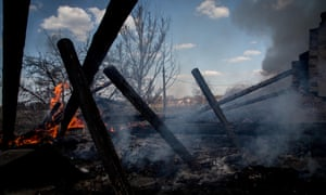 A private home burned down during previous shelling near Donetsk over the Easter weekend