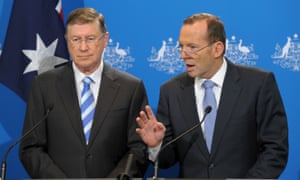 Aa Melbourne press conference where Denis Napthine and Tony Abbott announced a joint police taskforce into industrial criminality and corruption.