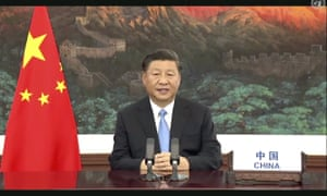 Chinese President Xi Jinping speaks in a pre-recorded message which was played during the 75th session of the United Nations General Assembly.