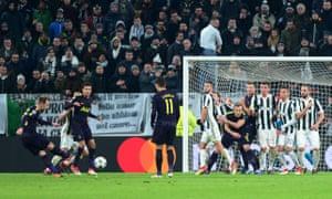 Christian Eriksen (left) scores Tottenham's second goal against Juventus from a free-kick.