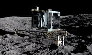 An artists impression of Rosetta's lander Philae on the surface of comet 67P/Churyumov-Gerasimenko. The probe has been silent since 9 July 2015.
