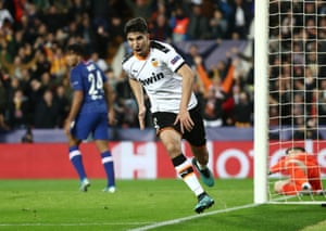 Valencia's Carlos Soler celebrates after opening the scoring.