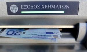 A cash machine in Greece