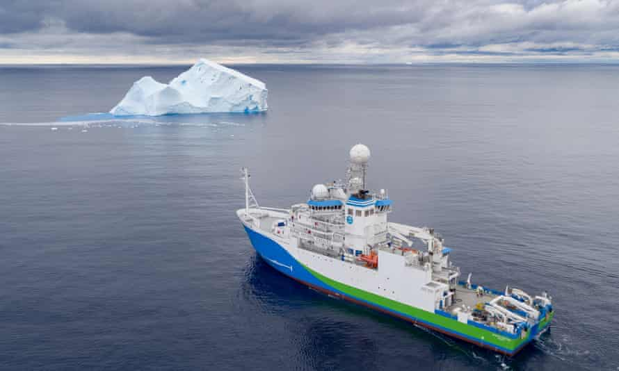 An iceberg in the East Antarctic basin, seen from a drone launched from the RV Investigator