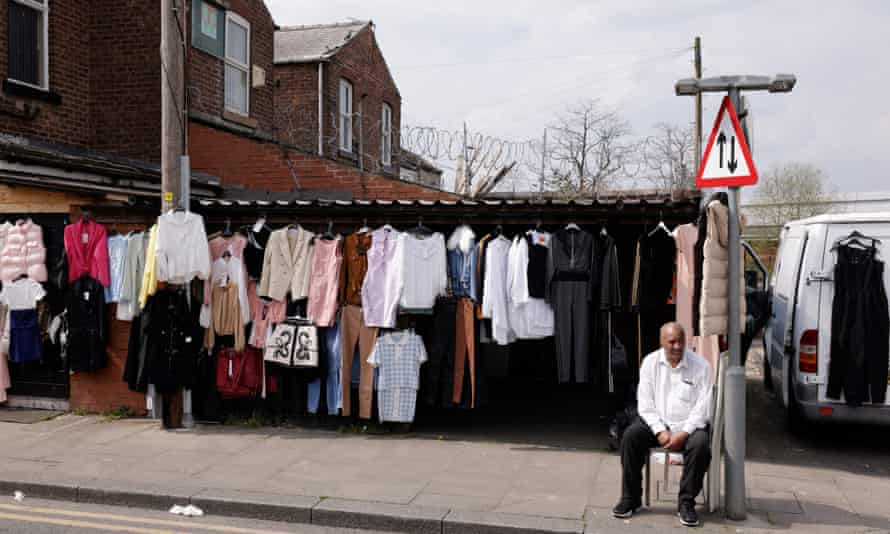 A clothes stall in Newton Heath and Miles Platting.
