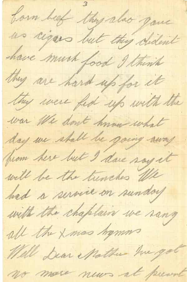 A page of a letter written by Frederick Davies.