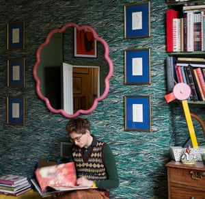 Interior designer and artist Luke Edward Hall in the bedroom of his London home