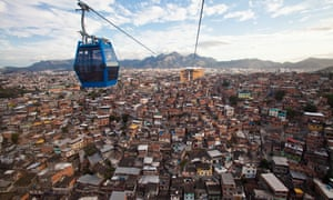 Panoramic view of the Alemão favela complex from a cable car.