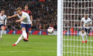 Harry Kane scores England's second goal of the night.