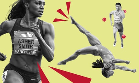 Olympics newsletter. From left: Dina Asher-Smith, Simone Biles, Rohan Browning