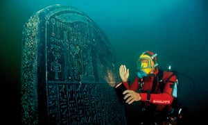 Decree of Sais stele under water.