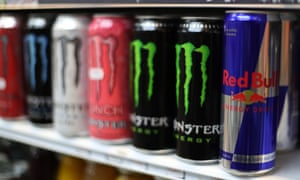 Energy drinks pictured on a shop shelf in London