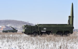 Iskander-M missile launcher during a military exercise held by missile and artillery units of the Russian Eastern Military District's 5th army at a firing range in Ussuriysk.