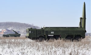 Iskander missile launchers in a Russian military exercise.