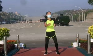 An exercise instructor has unwittingly captured the first moments of the Myanmar military coup
