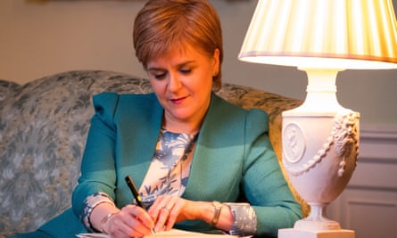 Nicola Sturgeon working on the final draft of her section 30 letter to Theresa May