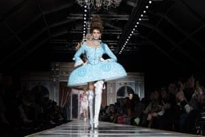 Milan, Italy: Kaia Gerber walks the catwalk for Moschino at Milan fashion week. Gerber is the daughter of the 90s supermodel Cindy Crawford
