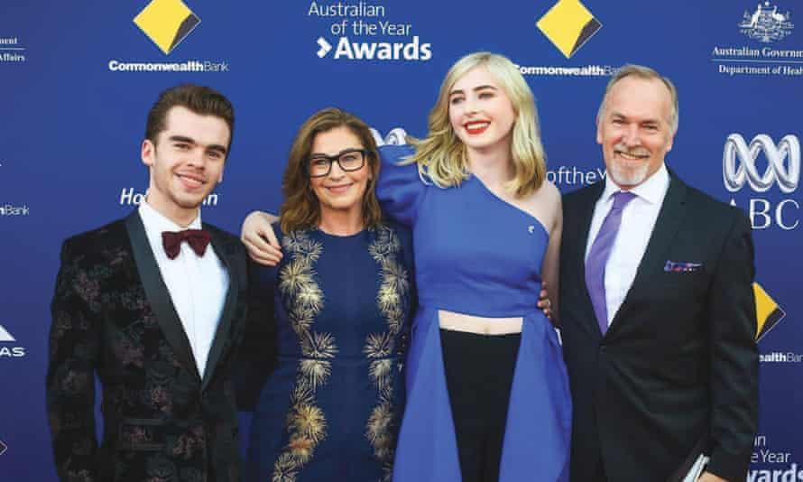 Rebekah Robertson and Georgie Stone with their family at the Australian of the year awards