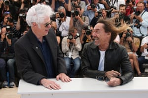 Iggy Pop and director director Jim Jarmusch pose for photographers during a photo call for the film Gimme Danger