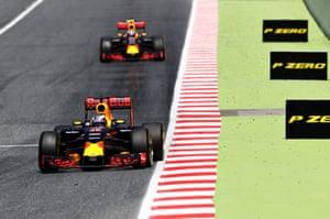 Ricciardo leads team-mate Verstappen.
