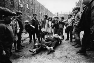 Street fighting in the Gorbals in Glasgow, 18 May 1968
