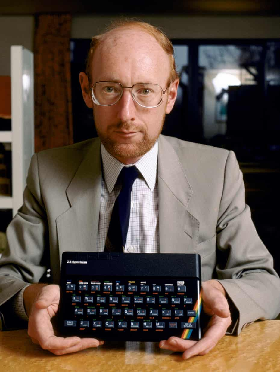 As much Brian Eno as Bill Gates … British entrepreneur and inventor Clive Sinclair holding his newly developed ZX Spectrum home computer in 1982.