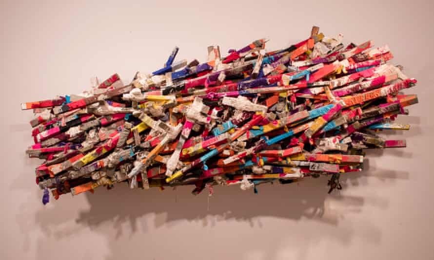 Phyllida Barlow's 'untitled: brokenshelf' on display at Hauser and Wirth