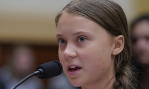 Greta Thunberg delivered a 15-minute address Wednesday, rounding off her two-day tour of Capitol Hill.