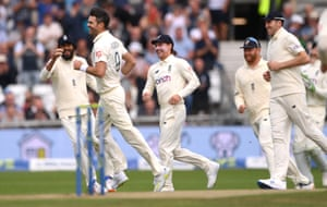 Anderson celebrates after taking the wicket of KL Rahul for 0.